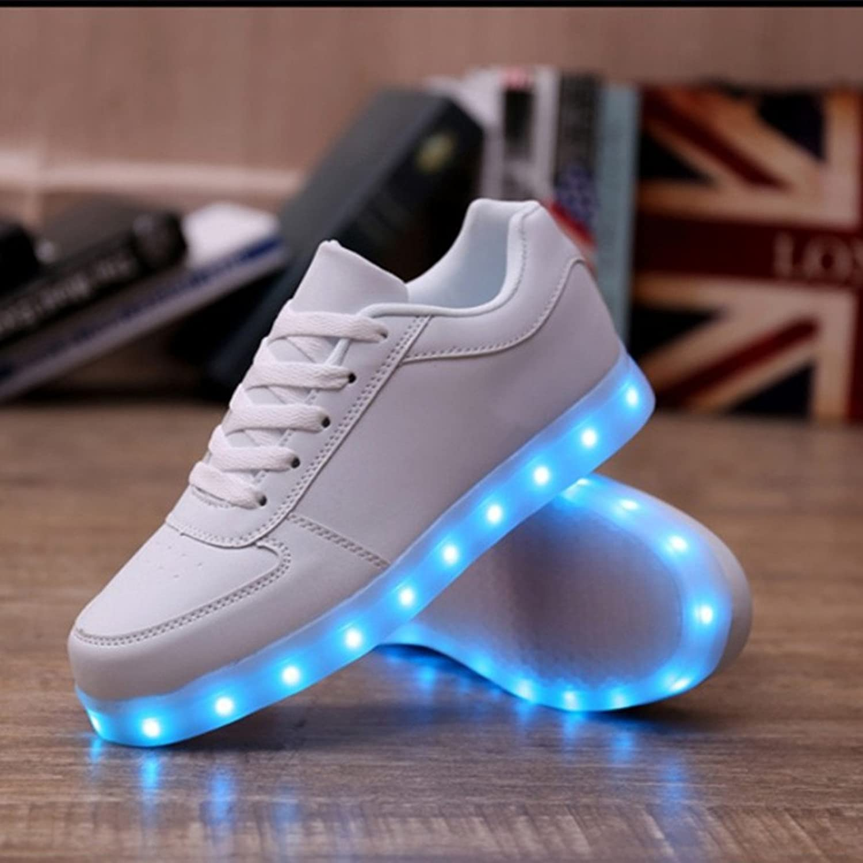 DoGeek Unisex Hombres Mujeres 7 Colores Light Up LED Zapatos Blanco Negro (Elegir 1 Tamaño Más Grande) (41 EU, 1 Negro)