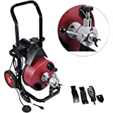 """Drain Cleaning Machine, BEAMNOVA Commercial Sewer Snake Drill Drain Auger Cleaner 50 Ft Long 1/2"""" W/4 Cutter & Foot Switch (1"""" to 4"""" pipes)"""