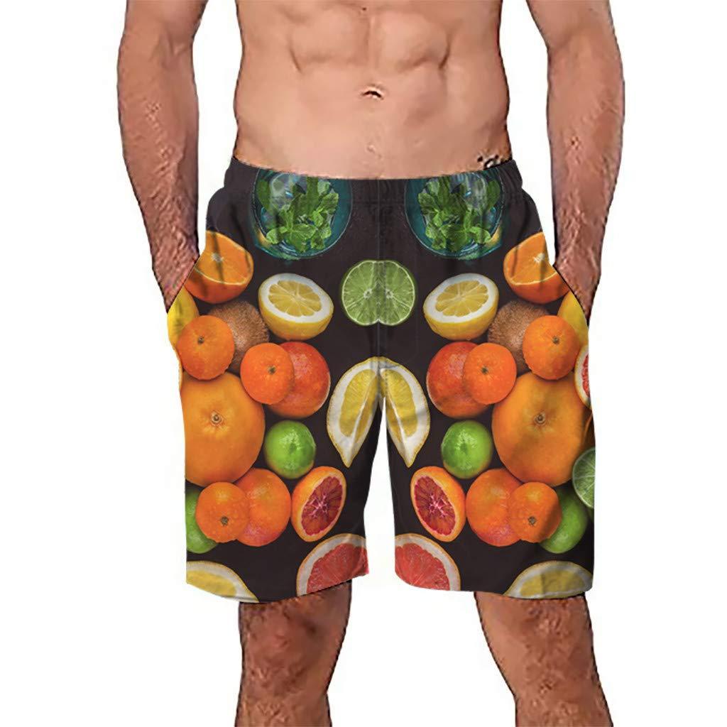 NUWFOR Men Casual 3D Graffiti Printed Beach Work Casual Men Short Trouser Shorts Pants(Multi Color,US S Waist:26.0-29.9'')