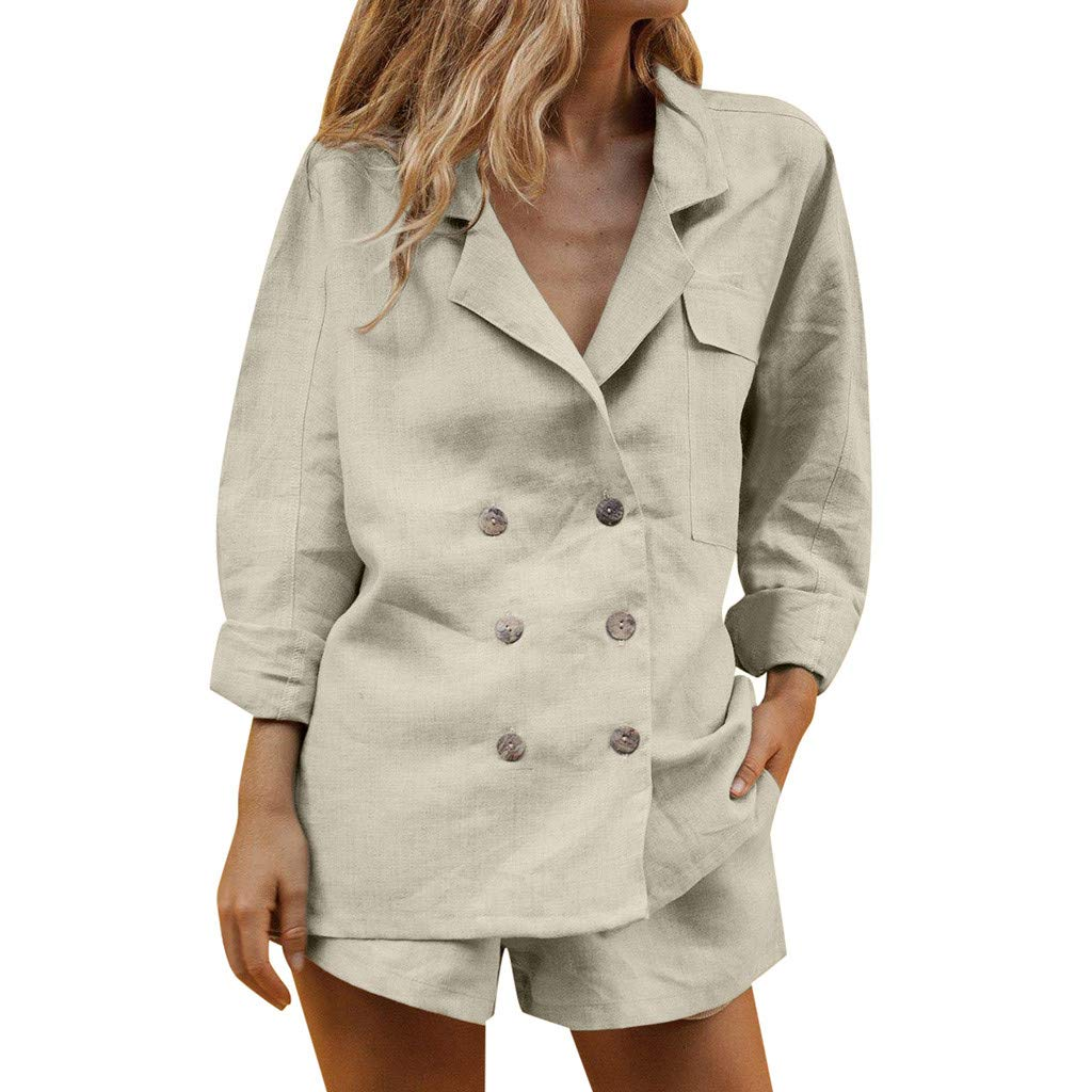 Aniywn Women's Two Pieces Ladies Suit Summer Casual Set Work Blazer Jacket and Shorts Suit Khaki by Aniywn