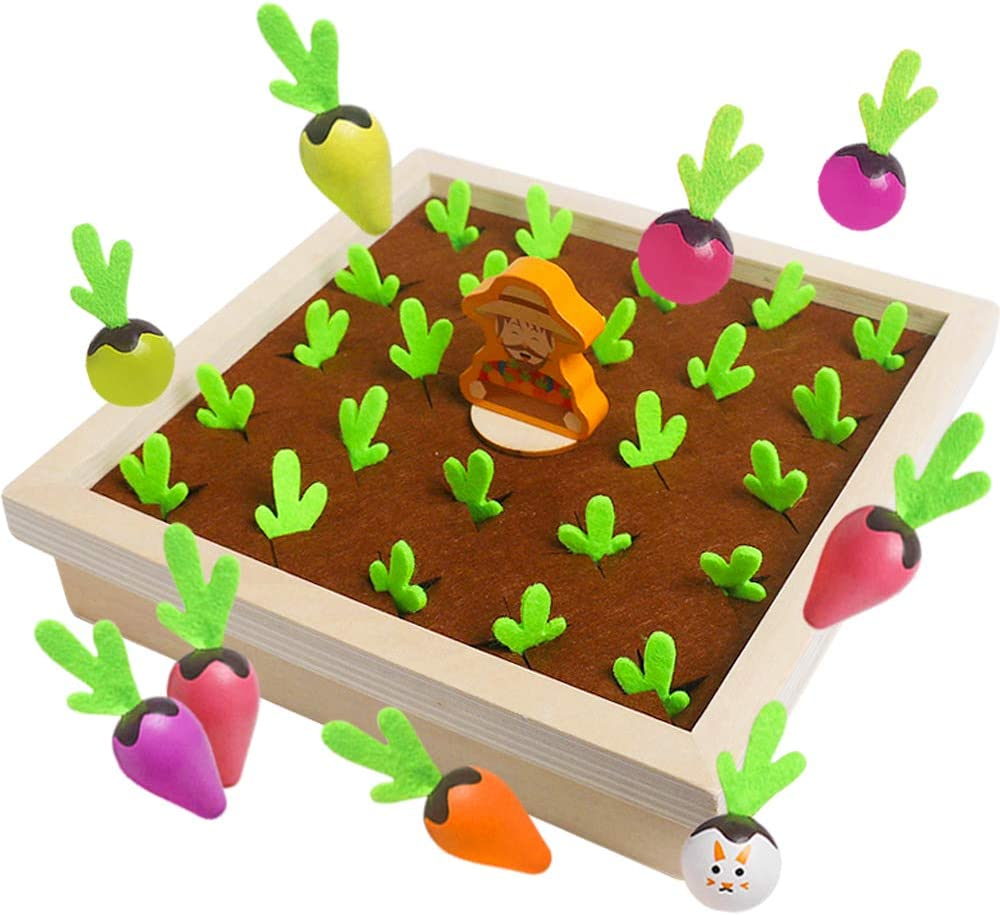 Montessori Toys for Toddler - Carrot Harvest Planting Wooden Toy Color Radish Memory Sorting Games for Developing Fine Motor Skill, Educational Gifts for 1 2 3 Year Old Boys Girls Preschool Learning