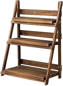 ACZZ Soporte de maceta simple para plantas de madera Soporte para macetas para exhibición en interiores y exteriores Macetero en maceta Escalera Estante Patio de jardín Organizador rústico Estantes D: Amazon.es: Bricolaje