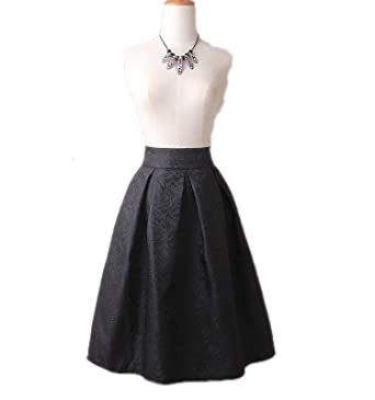 complimentary shipping elegant in style new product Black Red Jacquard Pleated Ball Gown Skater Ladies Midi ...