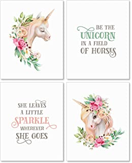 Confetti Fox Girls Room Decor Unicorn Wall Art - 8x10 Unframed Set of 4 Prints -