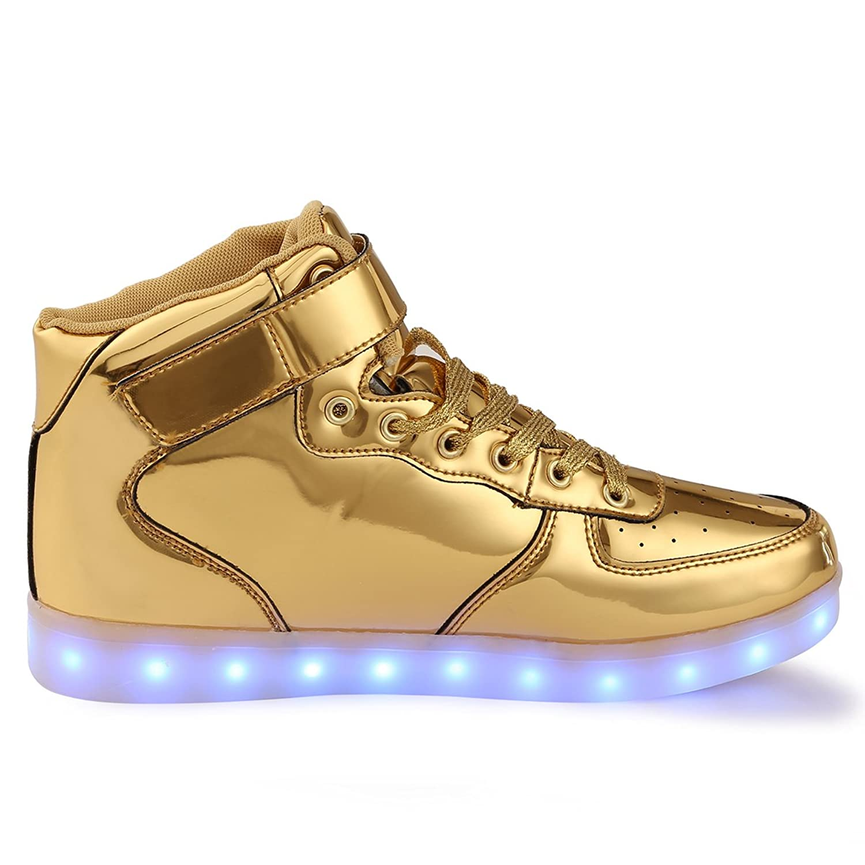 TULUO Kind u. Männer u. Frau USB-aufladende LED 7 Farben-helle hohe SpitzenSneakers Helle Schuhe Silber 25 EU aZMGGnLE5