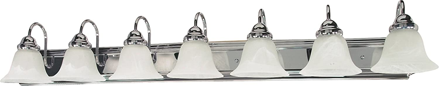 Filament Design 7778127290 7-Light Polished Vanity Light with Alabaster Glass Bell Shades, Chrome