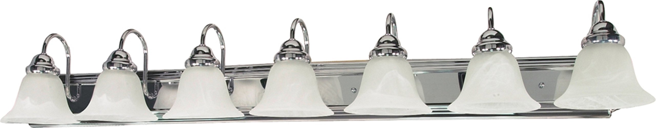 Filament Design 7778127290 7-Light Polished Vanity Light with Alabaster Glass Bell Shades, Chrome