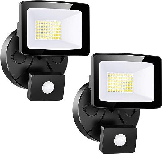 Onforu 2× 30W Foco LED Exterior con Sensor de Movimiento, Impermeable IP65 3000LM Proyector LED con Detector, Iluminación de Seguridad, Blanco Frío para Patio Pared: Amazon.es: Iluminación