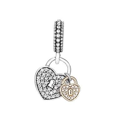 286f41d2f Amazon.com: Pandora Heart Padlock Silver Dangle Charm with Cubic Zirconia  791807CZ: Jewelry