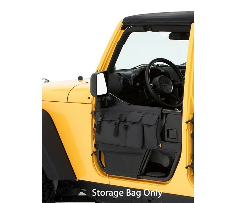 Bestop 51812-35 Matte Black Diamond Element Door Storage Bag Set for 1976-2006 CJ-7, CJ-8 Scrambler and Wrangler - Front (Pair)