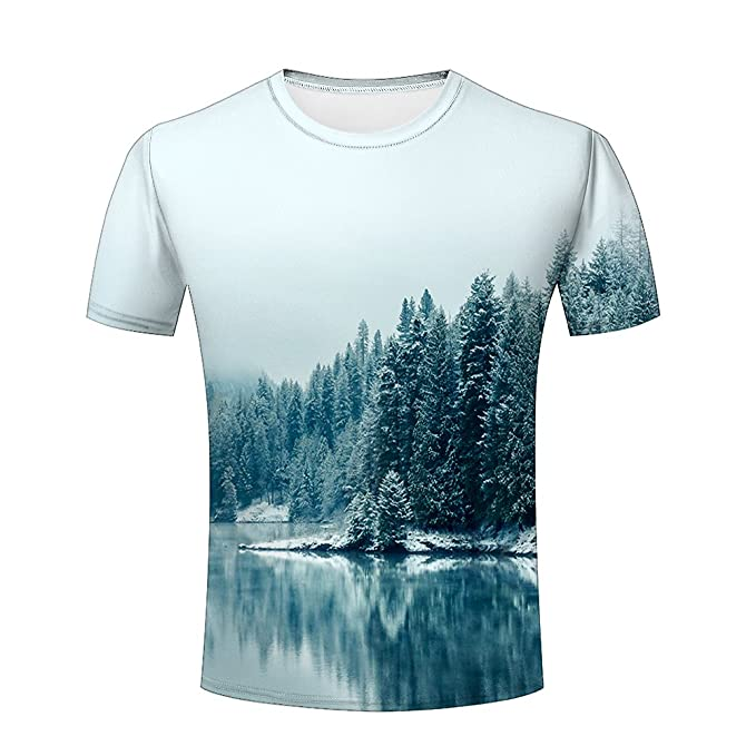 603d98e0a4e Amazon.com  Mens Stylish Tee Shirts Top S-XXXL Trees 3d Printing T ...