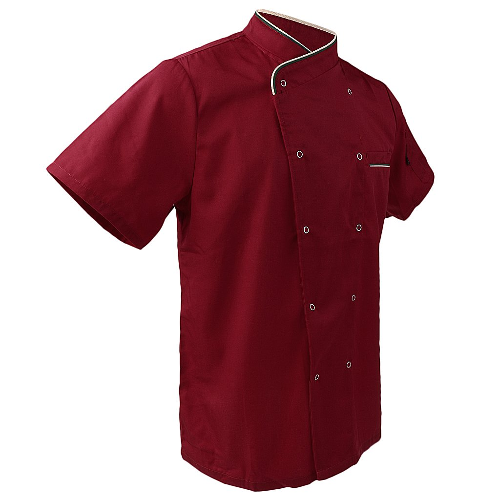 MagiDeal 1 x Kochjacke Bäckerjacke Kurzarm Chef Jacke Mantel Restaurant Unisex Koch Uniform