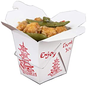 25 Pack Chinese take Out Box 16-OZ Bio Noodle Take Out Food Container: Perfect for Takeout Restaurants -White - Disposable and Recyclable (25)