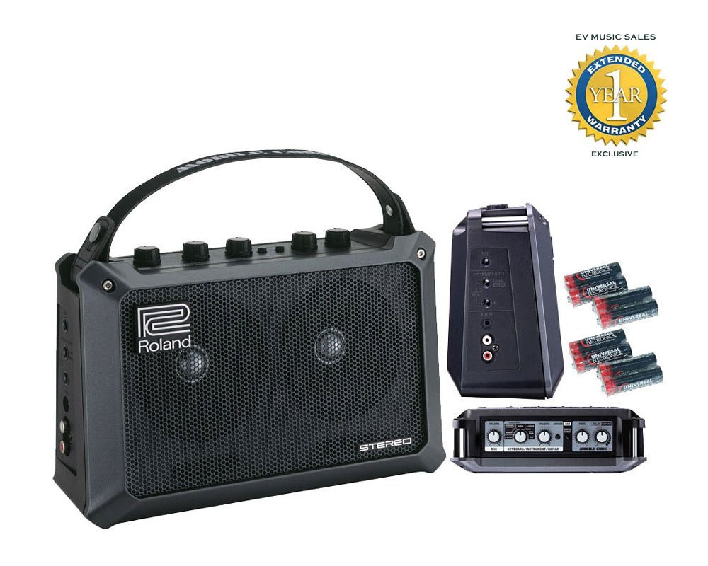 Roland Mobile Cube Battery Powered Stereo Amplifier and 8 Free Universal Electronics AA Batteries Bundle with 1 Year Free Extended Warranty by Roland