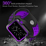 Bellamei Compatible Apple Watch Band with Case 38mm 42mm Shock-Proof Shatter-Resistant Protective Case Soft Silicone Sport Band for Series3/2/1 Nike+ Sport Edition
