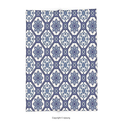 Custom printed Throw Blanket with Arabian Decor Collection Arabesque Floral Elegant Oriental Persian Medieval Baroque Tile Pattern Tribal Art Print Blue White Super soft and Cozy Fleece Blanket by vipsung