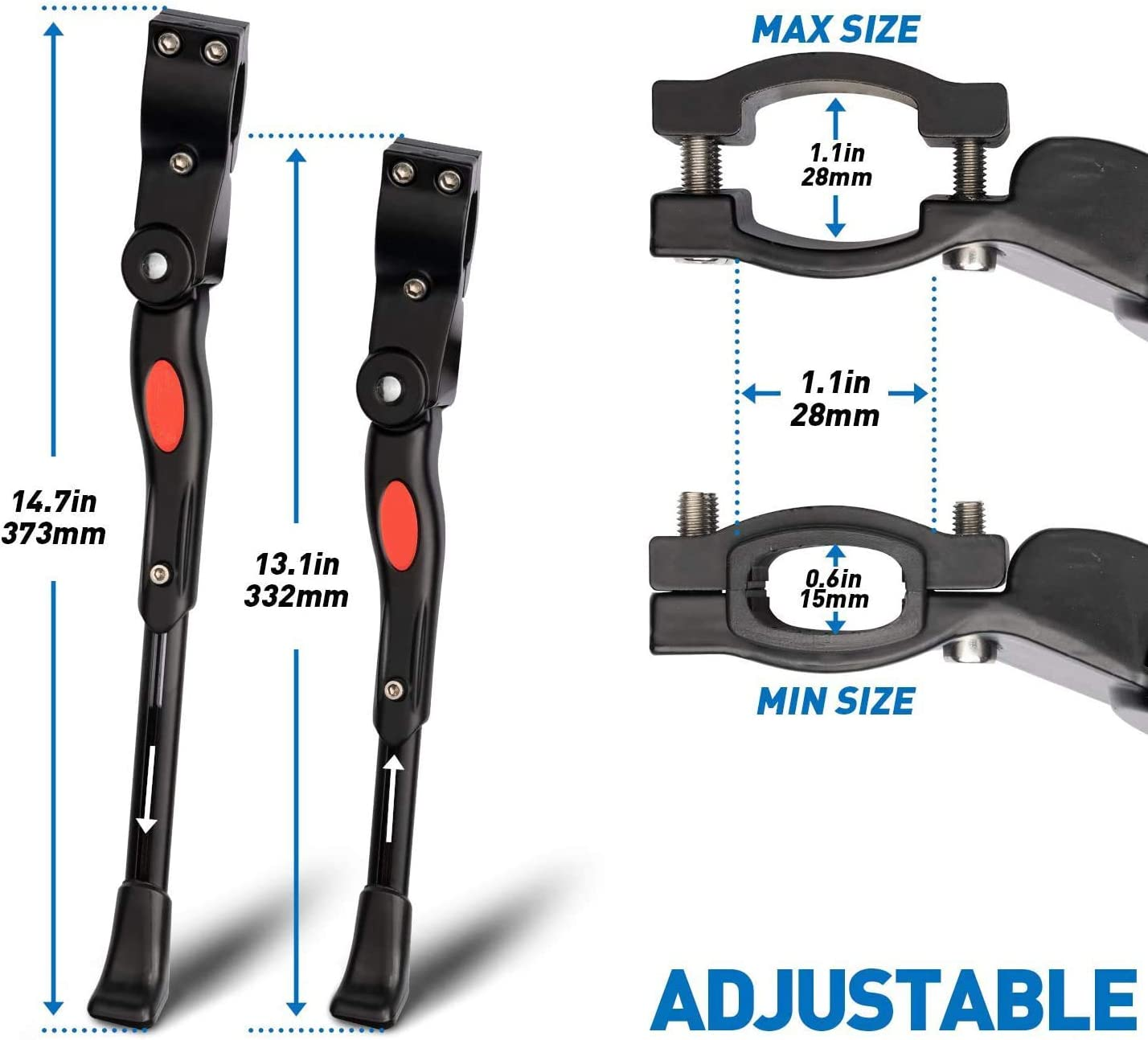 Timebox Bike Kickstand Adjustable Universal Aluminium Bicycle Kickstand Fit for 22 24 26 28 Mountain Bike//700 Road Bike//BMX//MTB