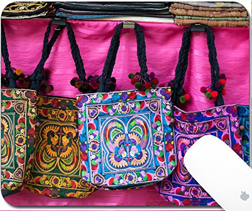 Luxlady Natural Rubber Gaming Mousepads Colorful tribal hand made bags by karens in North Thailand 9.25in X 7.25in IMAGE: - Blanket Striped Northern