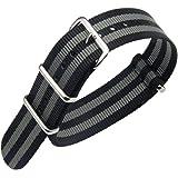 18-24mm bracelet noir / gris bande montre de luxe haut de gamme de style NATO en nylon balistique de remplacement pour les hommes