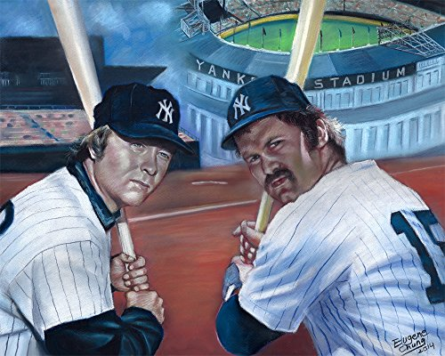 Thurman Manson & Bobby Murcer N.Y. Yankees Players Painting Poster By Artist Eugene Chung