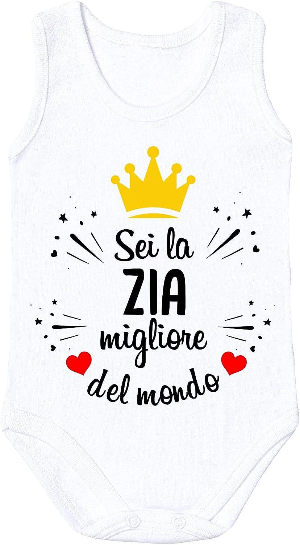 Body Zia bubbleshirt Body Smanicato Neonato Divertente Sei la Zia Migliore del Mondo Taglie da 3 a 12 Mesi
