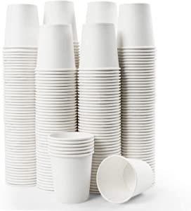 Vumdua 300 Pcs 6 oz Disposable Paper Cups, Hot/Cold Beverage Drinking Cup for Coffee, Water, Tea, Juice, Espresso & Cortado (White)