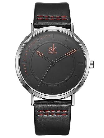 ea36fe40dff2 Alienwork Reloj Unisex Relojes Hombre Mujer Piel sintética Negro Analógicos  Cuarzo Plata Impermeable Ultra-Delgada  Amazon.es  Relojes