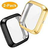 CAVN Compatibel met Fitbit Versa 2 Screen Protector, 2 Packs TPU Plated Versa 2 Screen Protector Case Rugged Cover Full-Cover Scratch-Proof Beschermende Bumper Shell Case voor Fitbit Versa 2 Smartwatch
