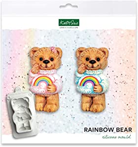 Rainbow Bear Silicone Mold for Cake Decorating, Crafts, Cupcakes, Sugarcraft, Candies, Cards and Clay, Food Safe Approved, Made in The UK