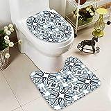 SOCOMIMI U-Shaped Toilet Mat Decor Medieval Persian Palace Flower Leaf Shapes Arabian Decor Artwork Light Blue Washable Non-Slip