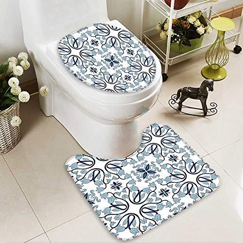 SOCOMIMI U-Shaped Toilet Mat Decor Medieval Persian Palace Flower Leaf Shapes Arabian Decor Artwork Light Blue Washable Non-Slip by SOCOMIMI