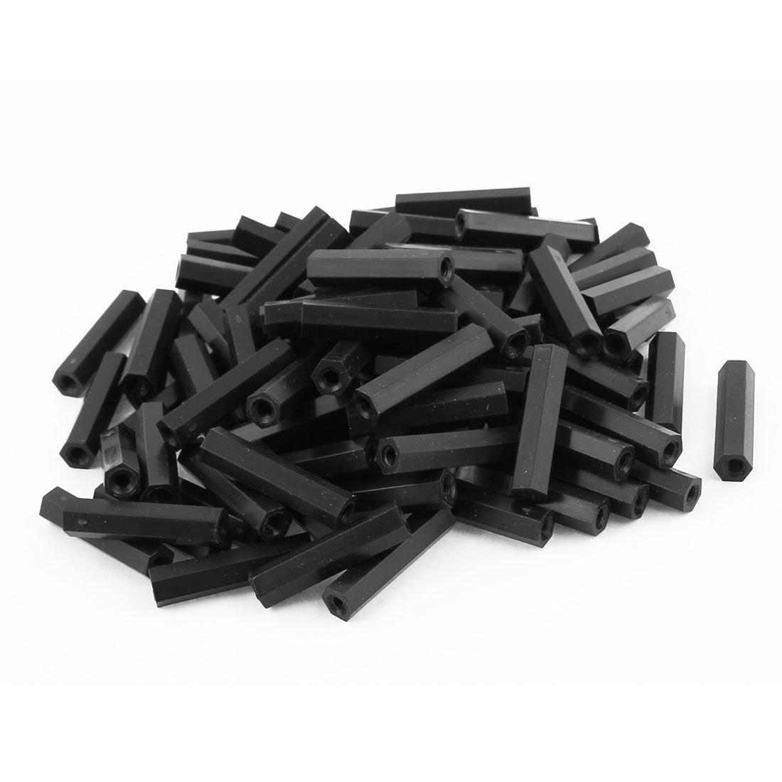 uxcell 100 Pcs M3 x 25mm Black Nylon Hex Hexagonal Threaded Spacer Support