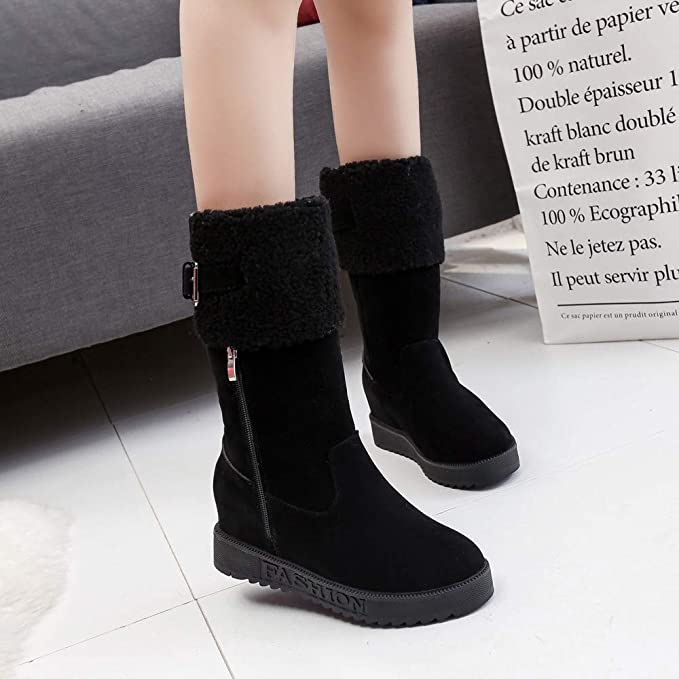 f82d728ff017 Amazon.com  Memela Clearance Sale!!Women s Winter Warm Zipper Snow Boots  Toe Wedges Shoes Keep Warm Buckle Strap Snow Boots  Clothing