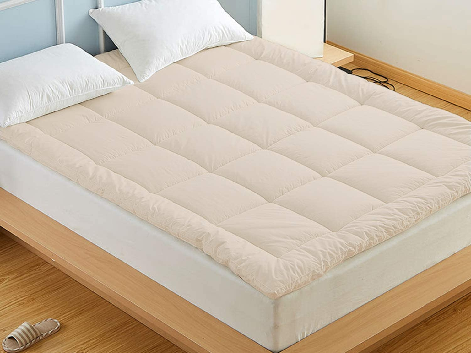 Wool Mattress Topper with Organic Cotton Cover King
