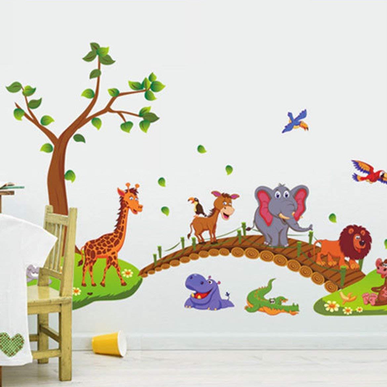 Kawaii grandi animali della giungla ponte PVC Wall Stickers bambini Camera Wallpaper Stickers bambini Camera Nursery Decoration multi-colore misto