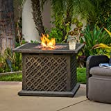 Saratoga Outdoor | 33″ Square Fire Table | Gas, Propane Fire Pit | 40,000 BTU | Includes Lava Rocks