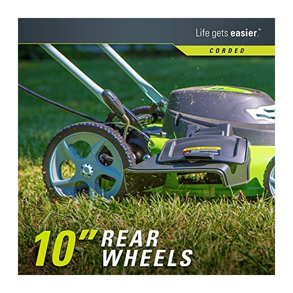 Greenworks g-max 40v 20-inch cordless 3-in-1 lawn mower with smart cut technology, (1) 4ah battery and charger included mo40l410 6 includes (1) max capacity 4 ah - 40v lithium battery , cutting heights - 5 position durable 20'' steel deck lets you mulch, bag, or side discharge allowing you to maintain your yard the way you want it. This lawn mower is not self-propelled innovative smart cut technology automatically increases the speed of the blade when more power is needed