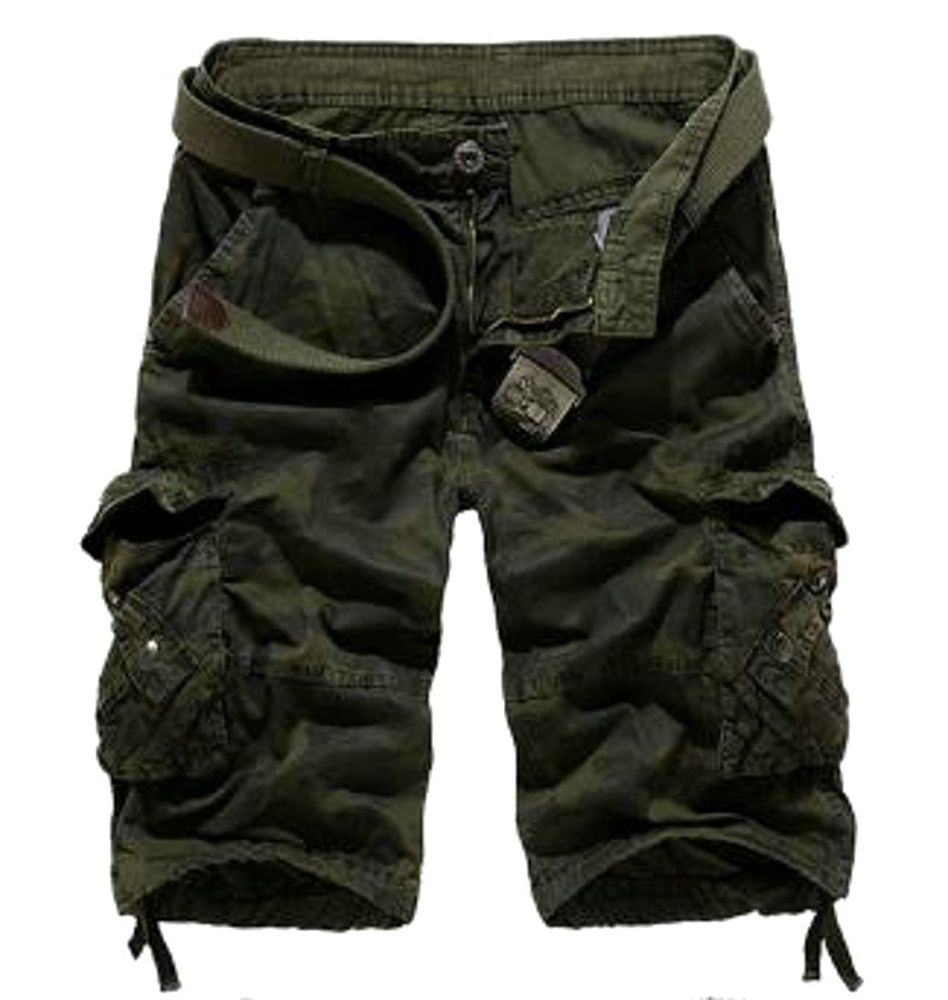 Domple Mens Basic Sports Workout Camo Print Multi Pockets Straight Cargo Shorts Army Green 38 by Domple (Image #1)