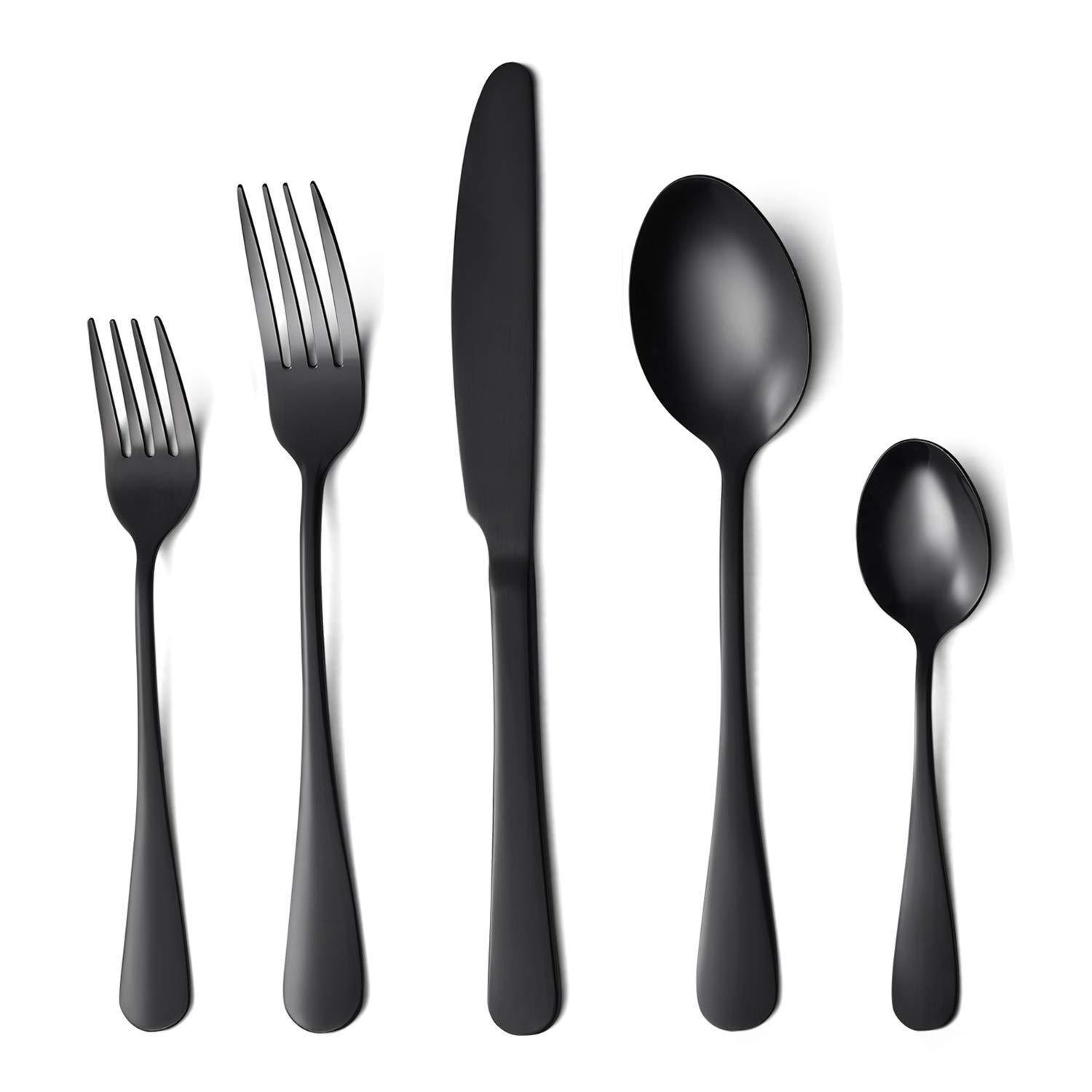 Flatware Set, 20-piece Silverware Cutlery Set with Serving Pieces, Heavy-duty Stainless Steel Utensils, Include Knife/Fork/Spoon, Mirror Finish, Dishwasher Safe, Service for 4 (Black)