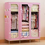 Generic New Triple Curtain Style Non-woven Fabric Wardrobe Closet Garment Cabinet Rack
