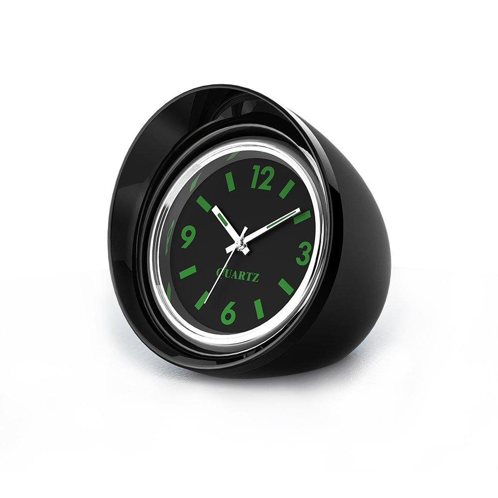 FORNORM Uhr fü r Auto, Quarz Uhrwerk Auto Clip Auf Autouhr Analog Metall mit Nachtlicht Zeiger und Zahl, Schwarzes Zifferblatt Grü ne Nummer, 1.4 * 0.4' 1.4 * 0.4