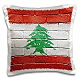 3dRose National flag of Lebanon painted onto a brick wall Lebanese - Pillow Case, 16 by 16-inch (pc_156923_1)