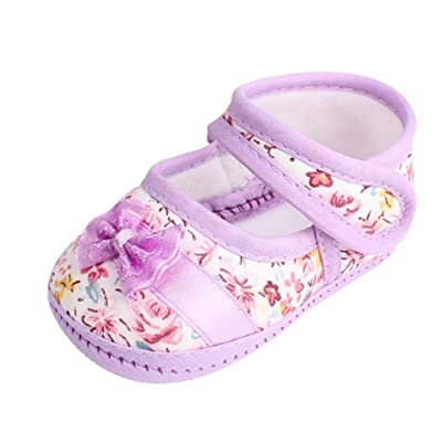 CocoMarket Baby Girl Soft Sole Bowknot Print Anti-slip Casual Shoes Toddler (13cm, Purple) : Baby