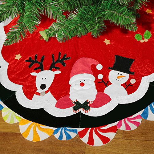 Valery Madelyn 38 Inch Joyful Santa, Snowman and Deer Multicolor Velvet Christmas Tree Skirt for Kids, with Lollipops Trim Border, Themed with Christmas Ornaments(Not Included) Colorful Christmas Trees
