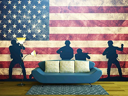 Soldiers in Assault on Grunge Usa Flag American Army Military Concept
