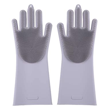 Silicone Gloves Brush Pair, Easy to Clean Kitchen a Variety of Food and Supplies, Dishes, POTS, Bowls, Vegetables, Fruits, Shellfish Seafood.Can Also Clean Skin, Ceramics, Glass,Pets, Cars (Grey)