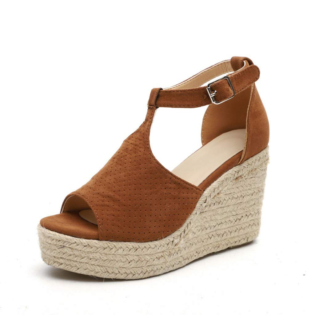 Lloopyting Women's Fashion Suede Openwork Buckle Wedges High Ankle Outdoor Sandals Open Toe Casual Shoes Brown