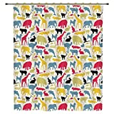 Shower Curtain,Cartoon Animal,Grunge Retro Africa Wildlife Characters Colorful Silhouettes Savannah Fauna Decorative,Multicolor,Polyester Shower Curtains Bathroom Decor Sets with Hooks