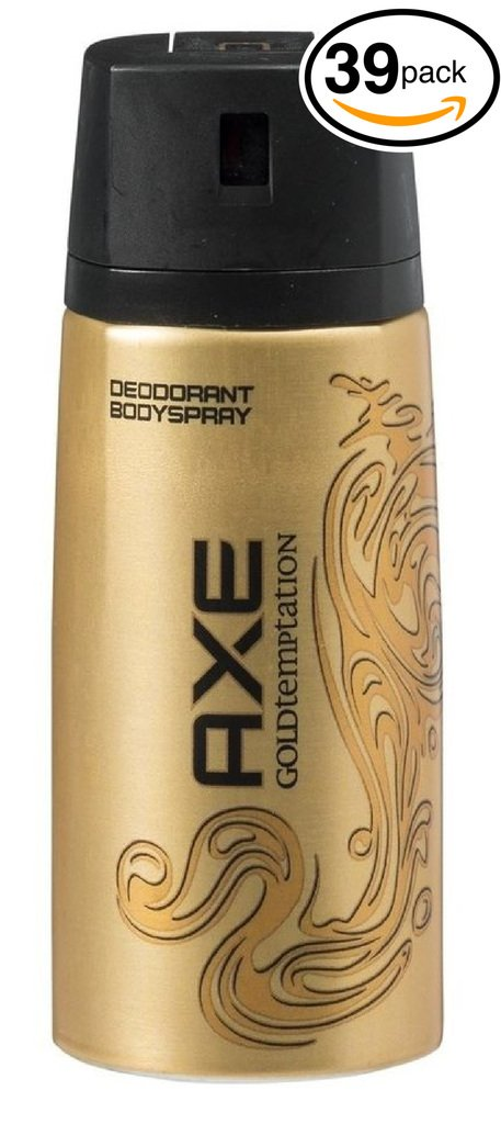 (PACK OF 39 CANS) Axe GOLD TEMPTATION Body Spray Antiperspirant & Deodorant. 48 HOUR ODOR PROTECTION! Energized & Fresh! (39 Cans, 5oz each Can)