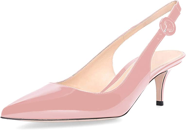 Details about  /New Womens Pointy Toe Kitten Heels Buckle Patent Leather Slingback Sandals Shoes